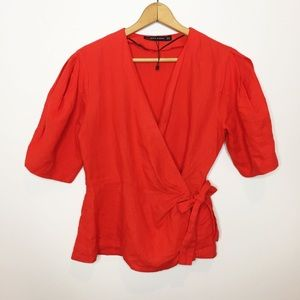 Zara Woman wrap top side bow poppy red linen large